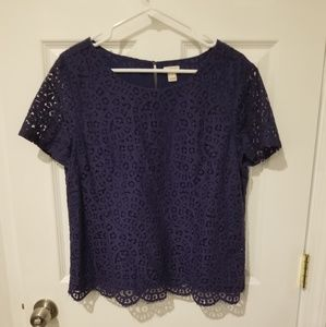 Gently worn J. Crew navy lace shirt